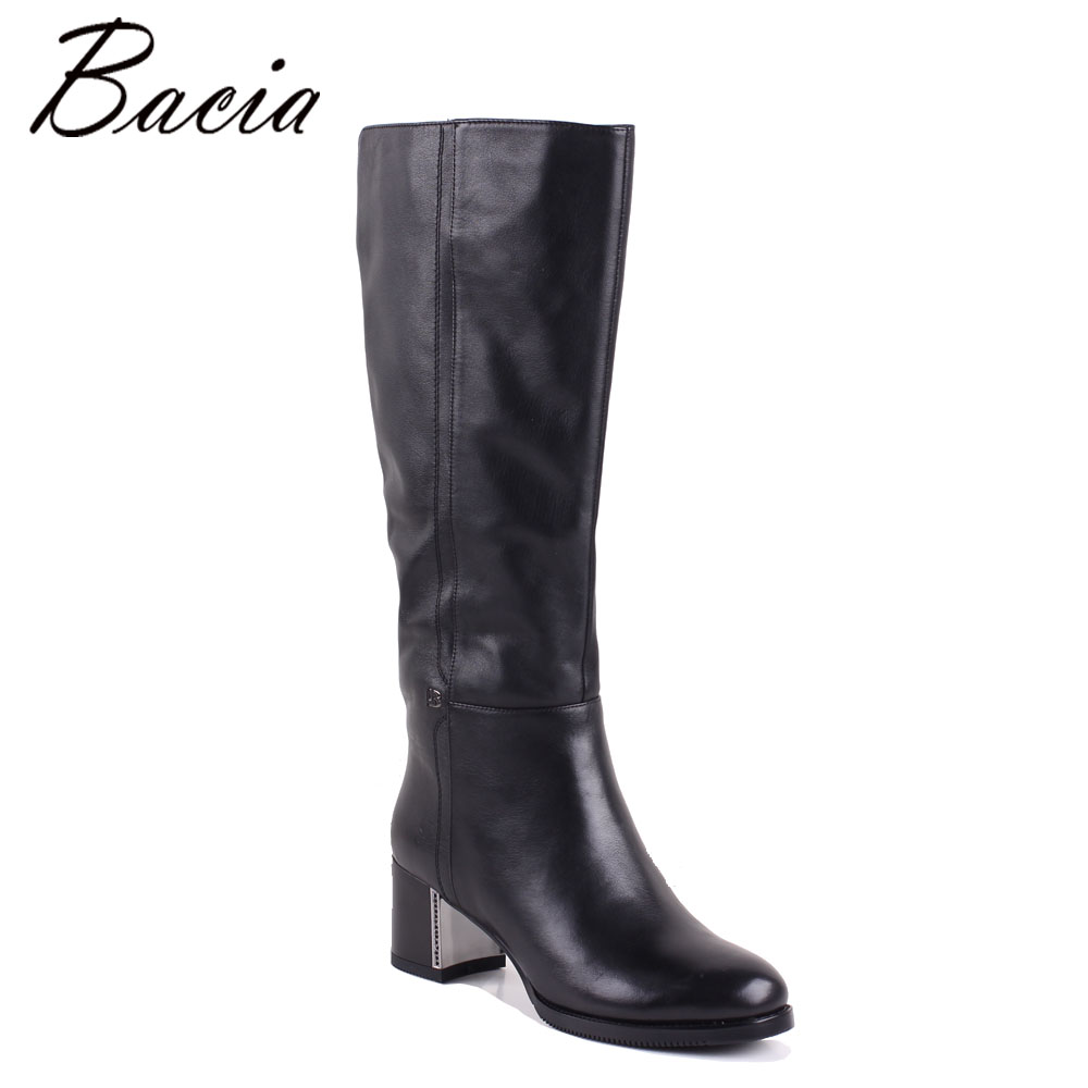 Bacia Women Boots Genuine Leather Shoes Heels About 4.5cm Inside Wool Fur &Short Plush Boots Black Knee High Shoes MC013 bacia genuine leather boots short plush women shoes black simple style ankle boots with zipper handmade high quality shoes vd021