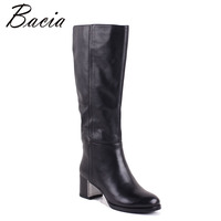 Bacia Women Boots Genuine Leather Shoes Heels About 4.5cm Inside Wool Fur &Short Plush Boots Black Knee High Shoes MC013