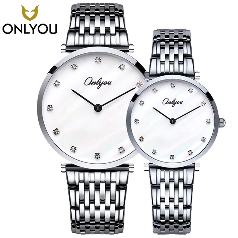 ONLYOU 2pcs Men Watches Rose Gold Stainless Steel Band Lover Watch Diamond Quartz Watch Waterproof Wristwatch Women Watches