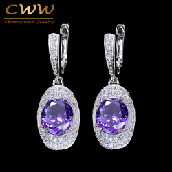 CWWZircons Classic New Fashion Women Jewery Purple Cubic Zirconia Stone Round Long Dangling CZ Earring With Easy Clasp CZ249