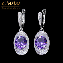CWWZircons Classic New Fashion Women Jewery Purple Cubic Zirconia Stone Round Long Dangling CZ Earring With Easy Clasp CZ249