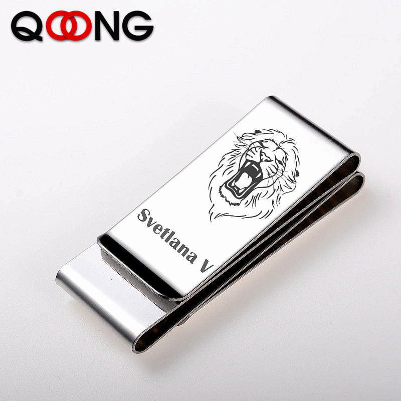 QOONG Third Sided Exquisite Gift Brand Multifunction Men/Women Stainless Steel Money Clip Slim Pocket Purse Cash Holder Clip