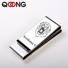 QOONG Third Sided Exquisite Gift Brand Multifunction Men/Women Stainless Steel Money Clip Slim Pocket Purse Cash Holder