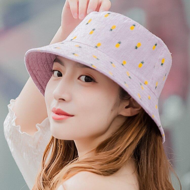 100% Cotton Bucket Cap Women Pineapple Hat Bob Caps Hip Hop Cool Outdoor Sports Summer Ladies Beach Sun Fishing Bucket Hats