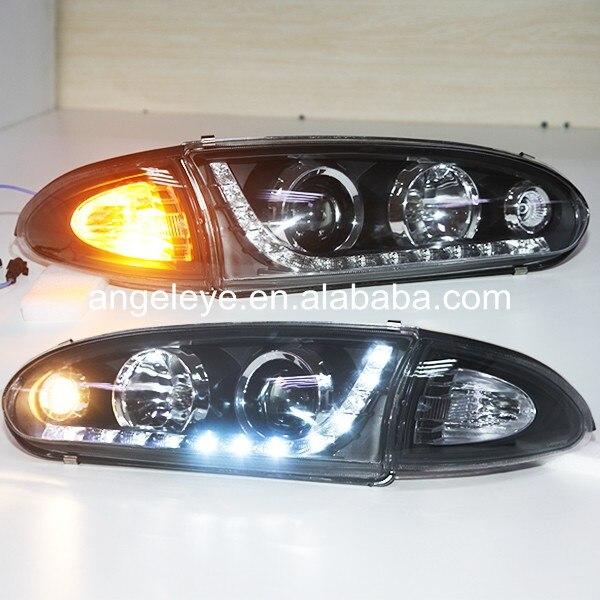 Para Proton para Wira 1992-2009 Año linterna LED para cabeza carcasa negra YZ