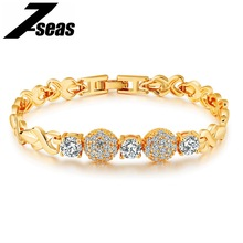 7SEAS Fashion Gold Color Women 's Bracelet Pave Cubic Zirconia Gorgeous Ladies Female Friendship Brecelet Jewelry Gift JM498(China)