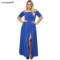 New Winter Big Size Slash Neck Long Dresses Sexy Off Shoulder Half Sleeve Split Women Maxi