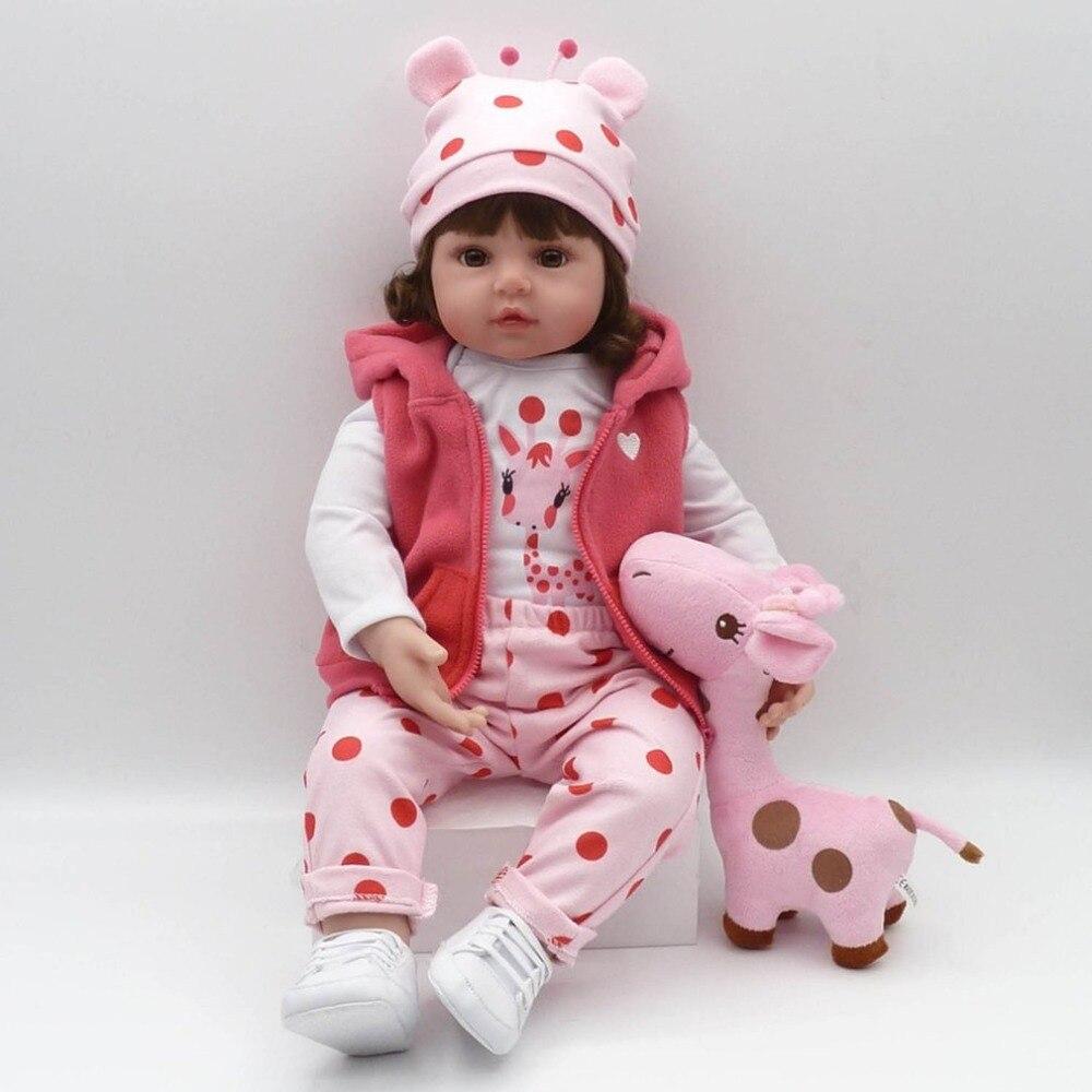 Hot 55cm Reborn Baby Doll With Giraffe Plush Toy Lovely Simitation Soft Silicone Body Baby Doll Toy For Kids Girl Birthday Gift стоимость