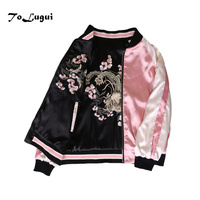 Floral Embroidery women jacket Autumn winter 2018 Harajuku Pilot Jacket On Both Sides Casual Baseball Jackets Coats Sukajan