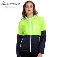 2016 Women Windbreaker Men Jacket Hooded Coat Patchwork Sunscreen Clothing Couple Female Spring Sweatshirt Sports Casual