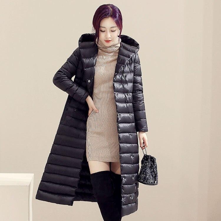 Knee Long Mens Down Jacket Winter Hooded Outwear Hooded Puffer Parkas Coat Slim