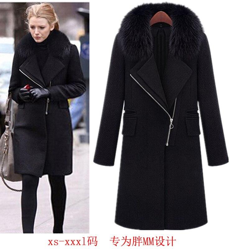 Manteau long noir femme col fourrure
