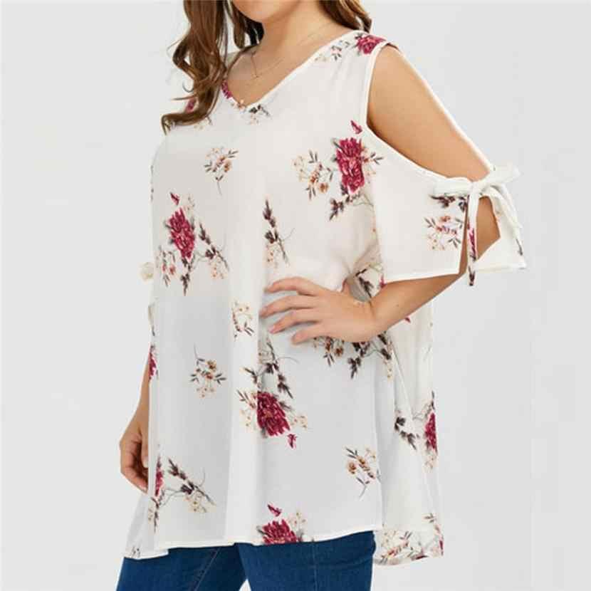 c5fb2d21fff CHAMSGEND Women Plus Size Floral V-Neck Casual Floral Cold Shoulder Blouse  Summer Tops Drop