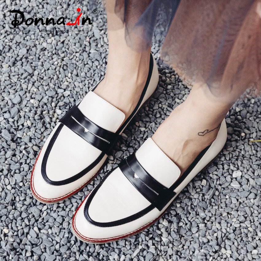 Donna in Women Flats Slip on Loafers Genuine Leather Casual Women Shoes Comfortable Autumn Spring Flats