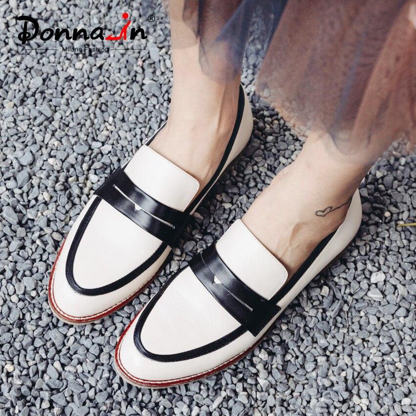 Zapatos planos de mujer Donna in Slip on mocasines de cuero genuino zapatos de mujer casuales cómodos otoño primavera zapatos de mujer 2019 nuevo-in Zapatos planos de mujer from zapatos    1