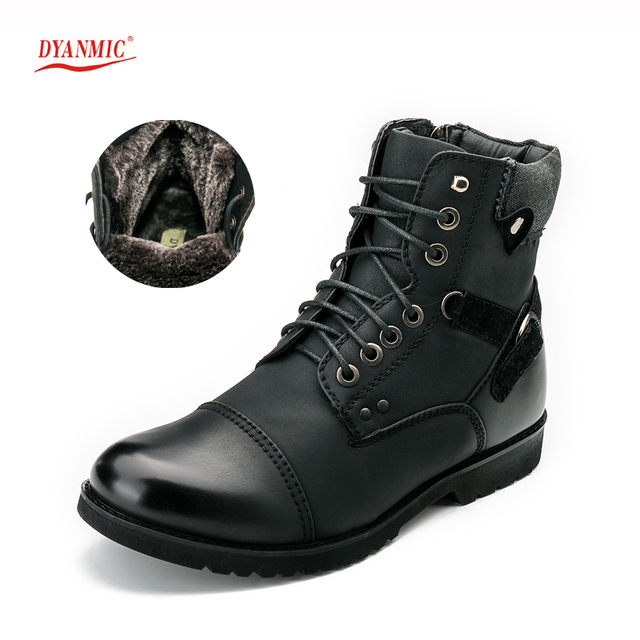 DYANMIC Men Winter Black Super Warm PU Leather Men Boots With Thick Fur High Quality Cotton Boot Handmade Outdoor Shoes