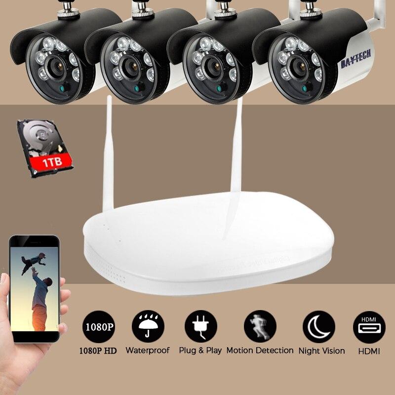 bilder für DAYTECH Cctv-überwachungssystem 1080 P HD 4CH HDMI VGA Drahtlose NVR Kit Wasserdicht 2MP Überwachungskamera Im Freien IR Nacht Vision