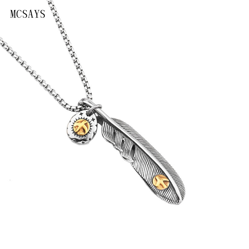 Aliexpress buy mcsays stainless steel punk necklace feather aliexpress buy mcsays stainless steel punk necklace feather pendant meaning of happiness box chain mens necklace fashion accessories gifts 3gm from aloadofball Choice Image