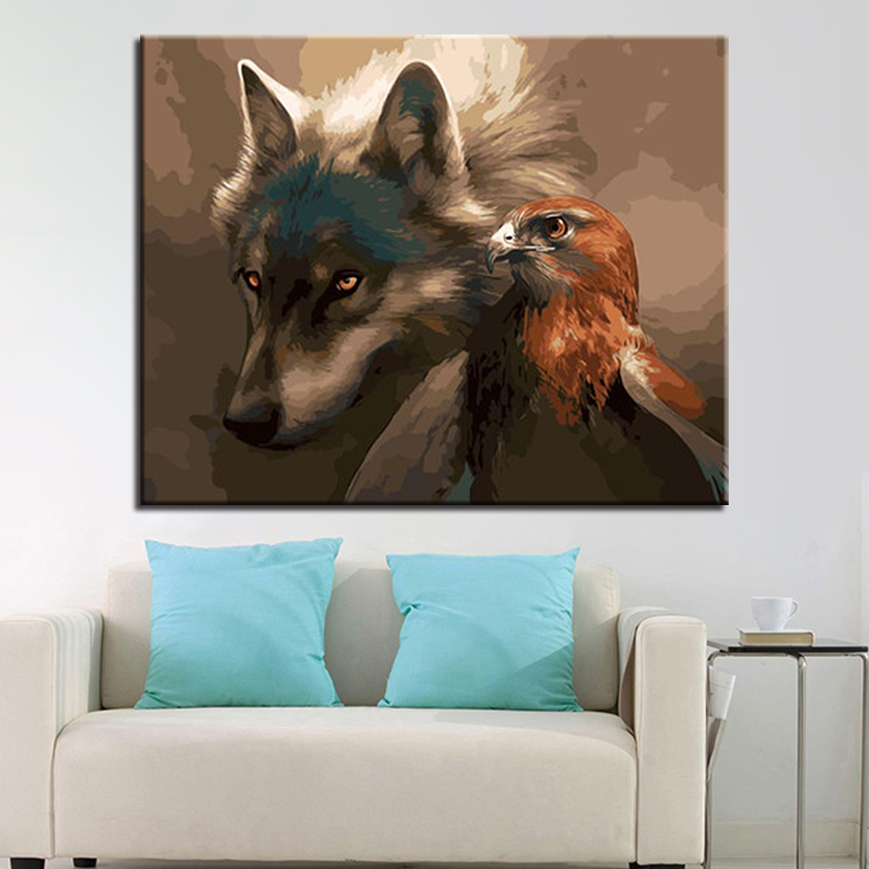 Wall Art Fashion Hand Unique Gifts Animal Wolf Pictures For Living Room DIY By Numbers O ...