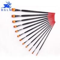 Bgln12Pcs Mixed Size Flat Nylon Hair Oil Acrylic Painting Brush Set Long Handle Art Brush Art