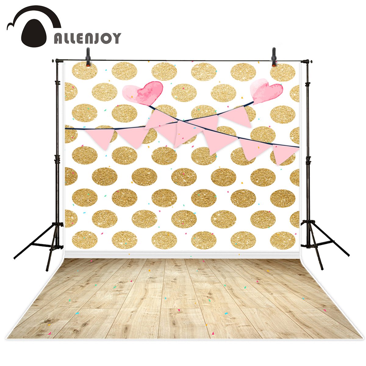 Allenjoy photography backdrops golden Dots pink banners Repeat Ribbon Wedding Party For a photo shoot background for studio
