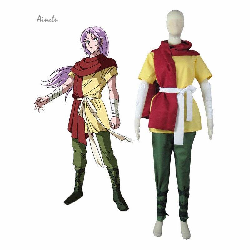 Ainclu Free Shipping New Saint Seiya Soul of Gold Gold Saints Aries Mu Uniform Anime Adult Kid Halloween Cosplay Costume