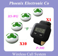 Wireless Waiter Call System Restaurant Table For Sales of 10pcs of H3 service Bells and 1 pcs of P-300 Watch Receiver