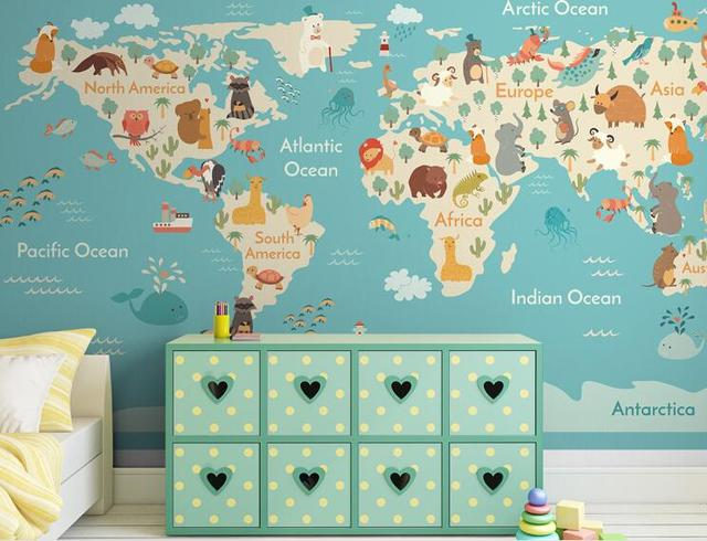 3d world map wall paper large photo mural wallpapers roll for Kids room wall paper