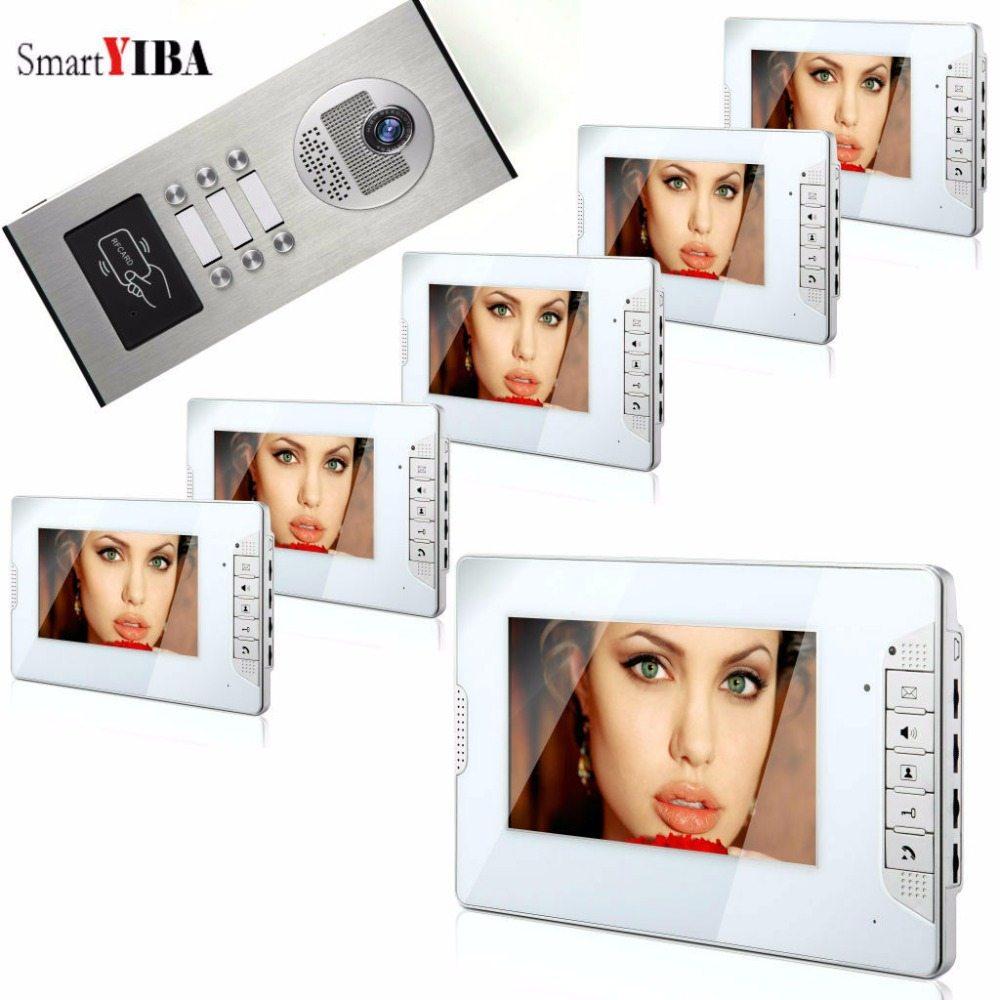 SmartYIBA  Rfid 7Video Intercom Kit Doorbell For 6 Units Apartments One To Six Intercom System Doorphone Door Camera 10 tft color video intercom system one to one monitor kit ir camera video doorbell with rfid 5 keyfobs waterproof v101fzsk11