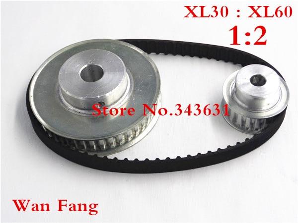 Timing Belt Pulley XL Reduction 2:1 60teeth 30teeth shaft center distance 120mm Engraving machine accessories - belt gear kit цена 2017
