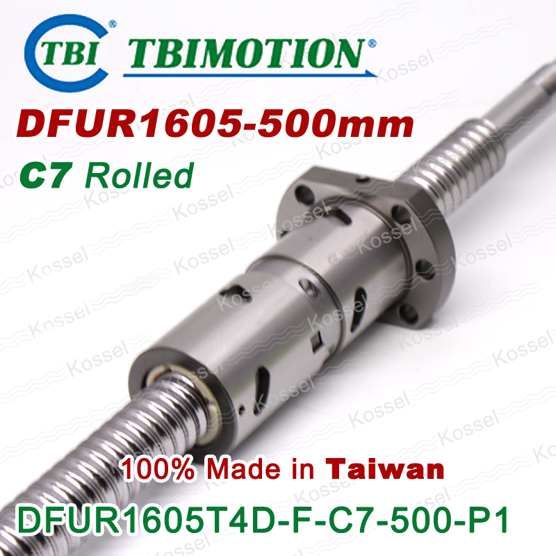 TBI 1605 C7 Rolled 500mm ball screw 5mm lead with DFU1605 ballnut + end machined for high precision CNC diy kit DFU set tbi 2510 c3 620mm ball screw 10mm lead with dfu2510 ballnut end machined for cnc diy kit dfu set