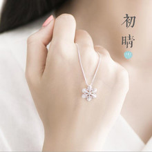 New Fashion Exquisite Popular 925 Silver Jewelry Beautiful Snowflake Cute Female Clavicle Chain Pendant Necklace  H294