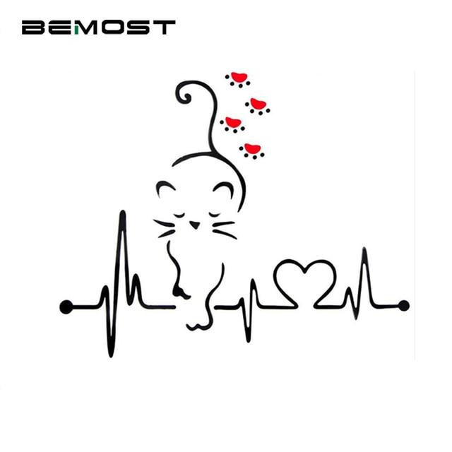 Bemost 車スタイリング素敵な猫ハートビート車の窓の装飾デカールファッション漫画のステッカー自動車の付属品 25*21 センチメートル