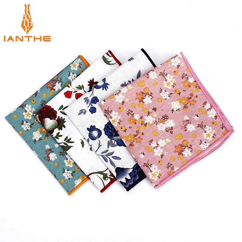 Brand Men Suits Linen Handkerchiefs Woven Floral Vintage Pocket Square Hankies Men's Business Casual Square Pockets Hanky Towel