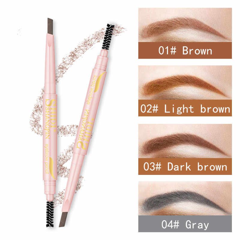 Color Box 4 Color Waterproof Long Lasting Double Ended Eyebrow Pencil Makeup Not Dizzy Extremely Fine Rotatable Pen Natural Eyes
