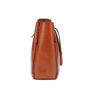Image 4 - FUNMARDI Бренд Дизайн Восковая Кожаная Сумка Роскошные высококачественные женские сумки Высокоемкая Сумка Кожаная Сумка На Молнии WLHB1723B