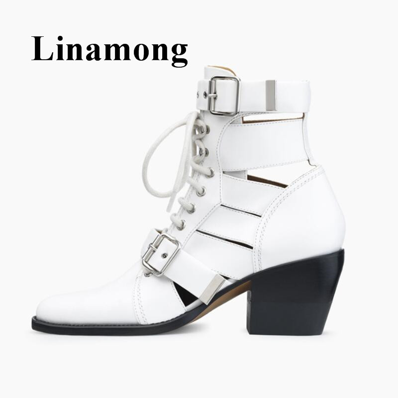 Newest Summer Spring Buckle Design Pointed Toe And Chunky Heel Lace Up Six Color Genuine Leather Women Ankle boots simple women s pumps with lace up and chunky heeled design
