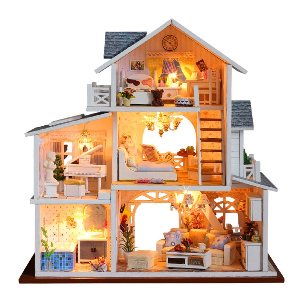 Doll House Diy Miniature 3D Wooden Miniaturas Dollhouse Furniture Building villa Kits Toys for Children Christmas Gifts starz 3d wooden villa house puzzles toys static model wood craft building kits children gifts for kids
