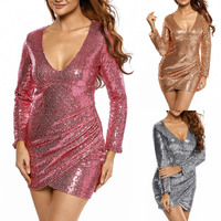 Ukraine Winter Sexy Women S Glitter Dress Package Hip Sliver Color Sequin Dress Long Sleeves Mini