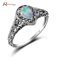 Wholesale Retail Elegant Water Drop White Fire Opal Rings Claw Inlay Pure 925 Sterling Silver Vintage