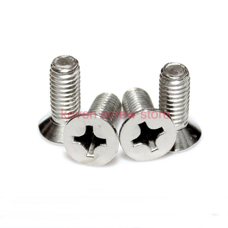Free Shipping 100pcs/Lot GB819 <font><b>M4x25</b></font> mm M4*25 mm 304 Stainless Steel flat head cross Countersunk head screw image