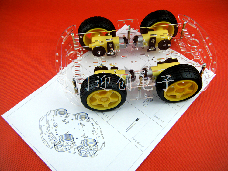 цена на 4WD Smart Robot Car 4 wheel 2 Layer Chassis Kit Speed Encoder For Arduino Free Shipping