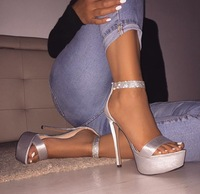 Stain Platform High Heel Sandals Deep Toe Dress Shoes Women Ankle Crystal Strap Stiletto Heels Ladies 14CM Pumps