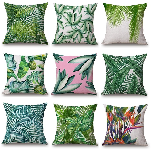 3D Green Leaf Cushion Cover Watercolor Tropical Palm Tree Leaves