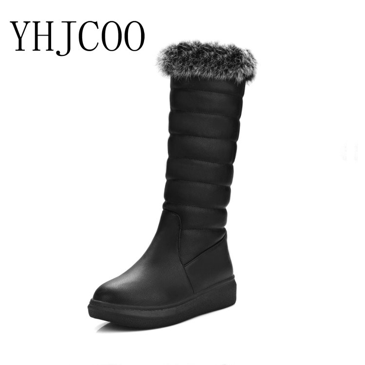 New Fashion Women Winter Snow Boots Warm Flat Platform Shoes of Woman Plush Fur Boots for Woman  Knee High PU Boots 2016 new arrive keep warm high heel snow boots fashion thick fur platform knee high winter boots for women shoes