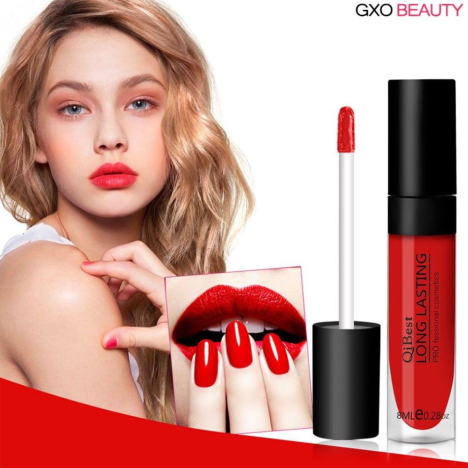 GXO BEAUTY 12 Colors Nude Matte Velvet Glossy Lip Gloss Lipstick Lip Cream Cosmtic Makeup Sexy Lipstick