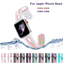 Soft sport Silicone Breathable hole Bracelet Strap for Apple Watch band 44/40/42/38mm Replacement iwatch series 4 3 2 1