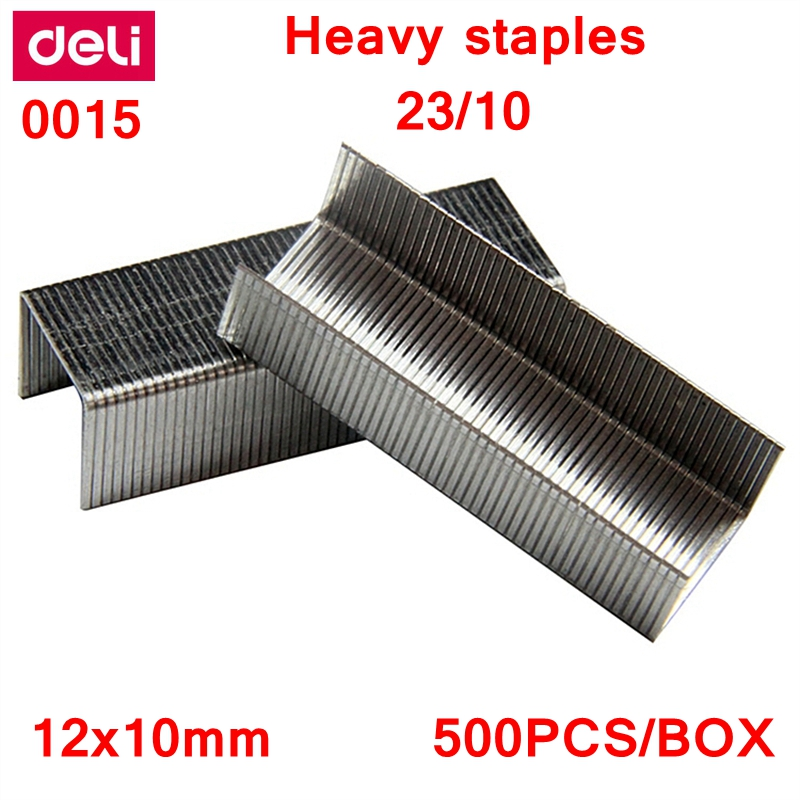 500PCS/BOX Deli 0015 Heavy Duty Staples 23/10 Staples 12x10mm Staples Width 12mm Height 10mm Capacity 75pages 70g Papers