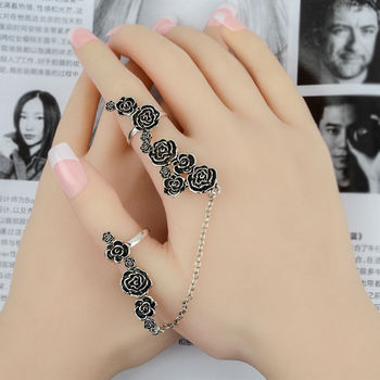 New Design Punk Rock Rhinestone Gold Rose Flower Chain Knuckle Two Finger Joint Ring chain