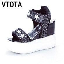 Vtota 2017 Женские сандалии sandalias mujer Сандалии на платформе женские сандалии на платформе с открытым носком Женская обувь на платформе Повседневная Летняя обувь B1